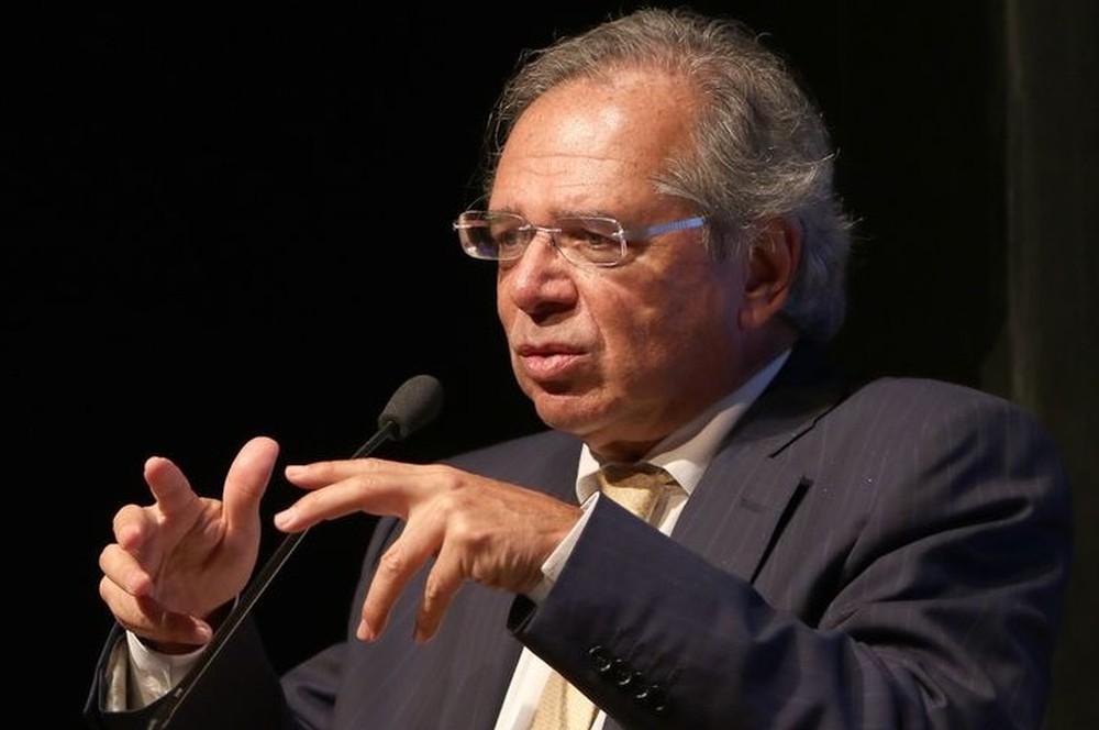 Ministro da Economia, Paulo Guedes, discursa em seminário em Brasília nesta quarta (12) — Foto: Wilson Dias/Agência Brasil