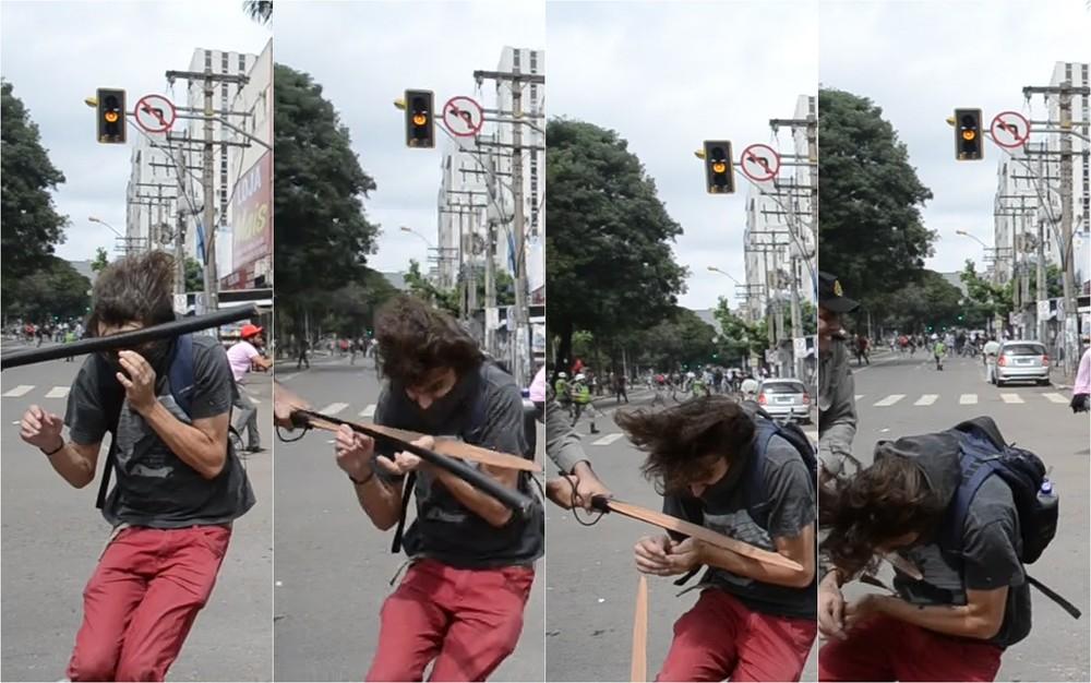 Sequência de fotos mostra que cassetete de PM quebrou durante agressão a estudante, em Goiás — Foto: Arquivo pessoal/Luiz da Luz